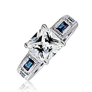 Bling Jewelry Cubic Zirconia Princess Cut & Blue Sapphire Color Baquettes Engagement Ring 3ct - Size 5 from Bling Jewelry