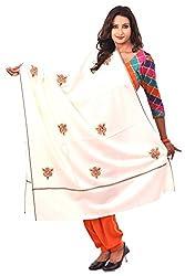 Weavers Villa - Women's Kashmiri Booti Work White Woolen Shawls , Stoles