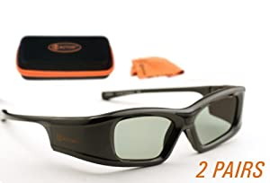 SAMSUNG-Compatible 3ACTIVE® 3D Glasses for 2011-14 Bluetooth 3D TV's. Rechargeable. TWIN-PACK by Dimensional Optics