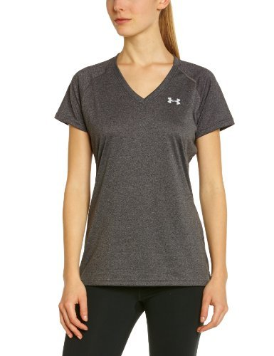 Under Armour Women's Tech SS V-Neck - Carbon Heather - X-Small