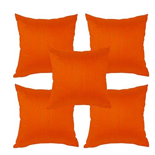 meSleep Orange Dupioni Cushion Cover (16x16)-5pc Combo