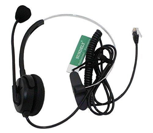 Sundely Call Center Telephone /Ip Phone Headset With Adjustable Boom Mic 4-Pin Rj9 Modular Connector For 3Com Aastra Alcatel-Lucent Altigen Ascom Avaya Cable & Wireless Cisco (Cis) Comdial Commander Doro/Audioline Ericsson Esi