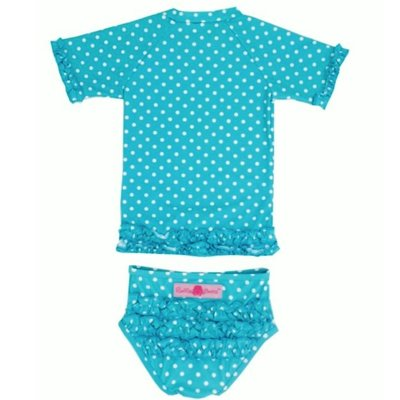 RuffleButts ラッフルバッツ水着 UPF50+ ラッシュガード Polka Dot Ruffled Rash Guard Bikini (18-24m(80), Aqua(アクア)) [並行輸入品]