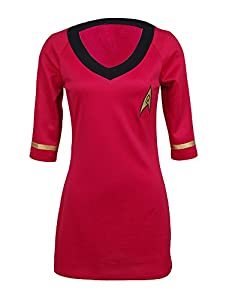 Womens Star Trek Uniform Dress Half-sleeves Embroidery Badge Emblem Shirt