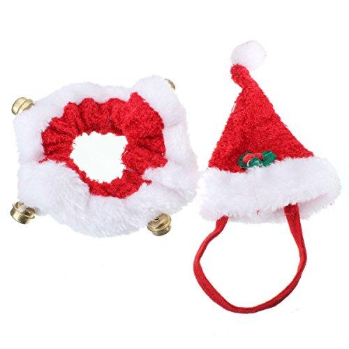 kungfu-mall-2pcs-weihnachten-haustier-hund-katze-sankt-hut-kragen-mit-glocke-weihnachten-kostum-set