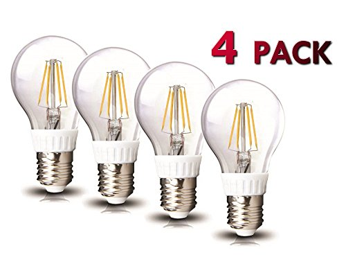 Amledtek A-Bf401-4 Led Filament A19 4W To Replace 40W Incandescent Bulb Softwhite (2700K) 4 Pack
