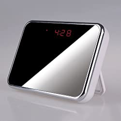 Gadget Advice Best HD SPY Camera clock with Motion detection, Alarm, Design Mirror, Spy CAM , 1280x 960 pixel @ 30fps, 5 Mega pixel , Spy clock, Voice & Videos Recorder, Picture, Audio Sound , Room/Store Temperature, 140, Wide View Angle, MultiFunctional HIDDEN CAMERA Clock