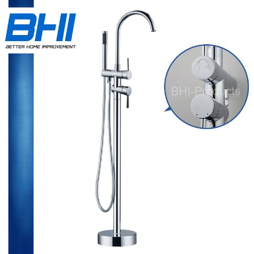 Chrome Free Standing Floor Mounted Clawfoot Bathtub Brass Faucet BTFA-AZ8723