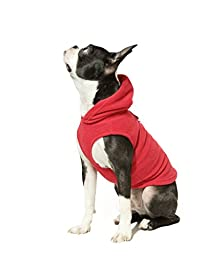 Gooby Every Day Fleece Cold Weather Dog Vest with Hoodie for Small Dogs, Red, Small