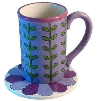 Gorham Mary Mary Quite Contrary Purple Mug W/ Coaster Lid