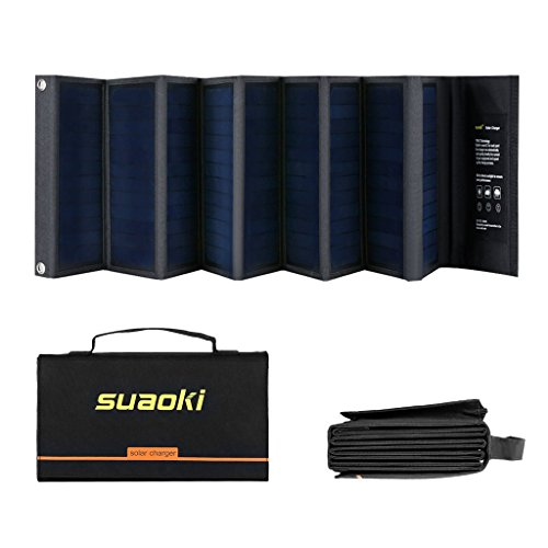 SUAOKI 60W Portable Sunpower Mono-Crystalline Folding Solar Panel With DC 18V and USB 5V Output Charger for All 5-18V Electronic Devices