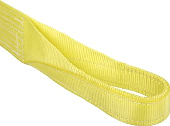 Mazzella EE2 Polyester Web Sling, Eye-and-Eye, Yellow, 2 Ply, Twist Eyes, Vertical Load Capacity