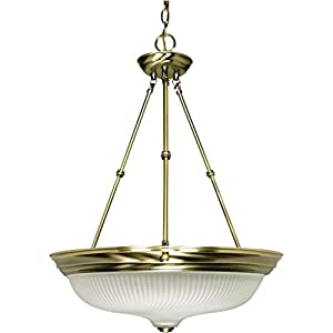 Nuvo 60/244 20-Inch Three Light Pendant With Frosted Swirl Glass, Antique Brass