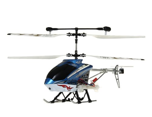 HCW 521A/527A 3-Channel Aluminum RC Helicopter with Flashlight, Music, Gyroscope (Blue)