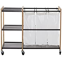 Trinity EcoStorage Wheeled 3-Bag Bamboo Laundry Station - Bronze