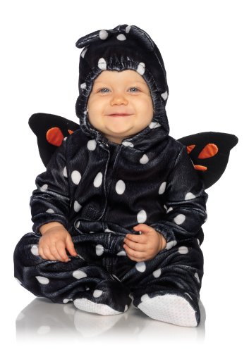 Leg Avenue Anne Geddes 2Pc.Baby Butterfly Soft Hooded Pajama with Wings Tiny Antennae, Black/Orange, 12M-18M image