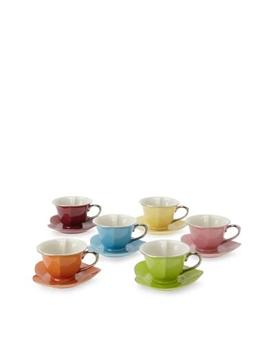 Classic Coffee & Tea Inside Out Heart Cups & Saucers, Set of 6