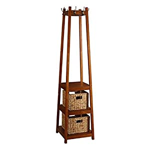 Amazon.com: Coat Rack Stand Wood with Three Shelves and Two Baskets