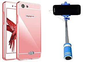Novo Style Back Cover Case with Bumper Frame Case for OPPO Neo 5  Rose Gold + Wired Selfie Stick No Battery Charging Premium Sturdy Design Best Pocket Sized Selfie Stick