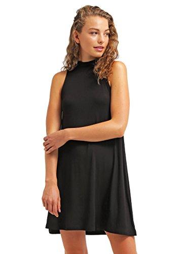 Sommer-Kleid für Damen knielang in Rot & Schwarz von ★ The Style Room ★ elegantes Strandkleid ohne Ärmel, Cocktailkleid aus Jersey kurz