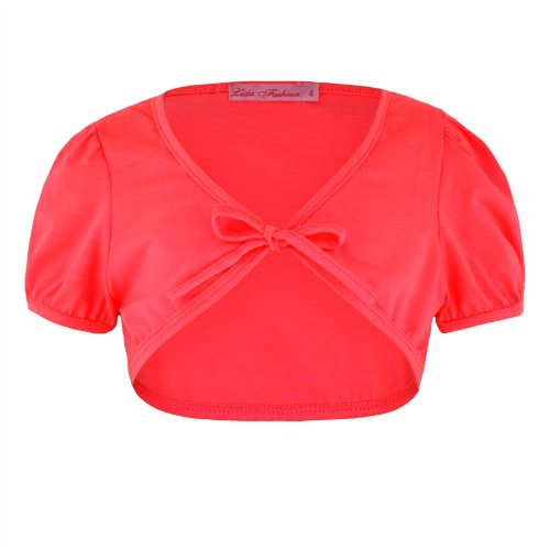 Girls Tie Front Bolero In Neon Coral 11/12 Years front-975000