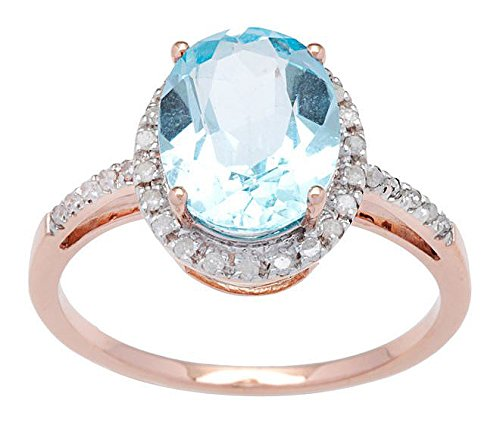 10k Rose Gold 3ct Oval Blue Topaz and Diamond Ring