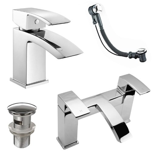 Modern Basin Mixer and Bath Filler Taps with Wastes
