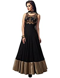 Marmic Fab Women's Net A-Line Semi Stitched Anarkali Dress Material(Dresses 10_Blue_Free Size)