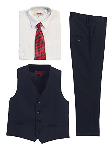 Navy Vest Pants With White Dress Shirt Stripe Tie Boys