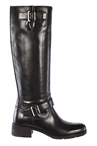 Prada womens leather boots soft calf black