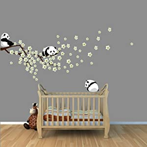 Panda bear wall decal with cherry blossom for Stickers panda chambre bebe