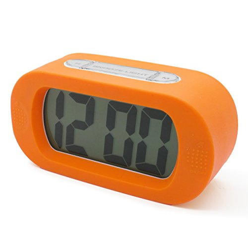 """Jcc """"Easysetting"""" Silicone Protective Cover Digital Silent Lcd Large Screen Desk Bedside Alarm Clock With Snooze Light Function Batteries Powered (Orange) front-30626"""