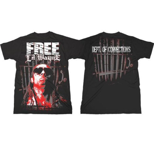 Lil Wayne 'Free / Dept of Corrections' 2-sided Black T-Shirt (Small)