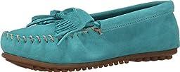 Minnetonka Women\'s Turquoise Suede Kilty Suede Moc 9.5 B(M) US