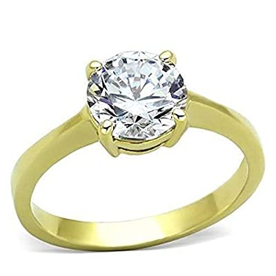 YourJewelleryBox TK1405PB 1.2CT SOLITAIRE ENGAGEMENT SIMULATED DIAMOND RING WOMENS STEEL GOLD