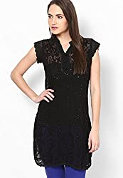 Viba London Women Chikan Embroidered Kurti Black Large