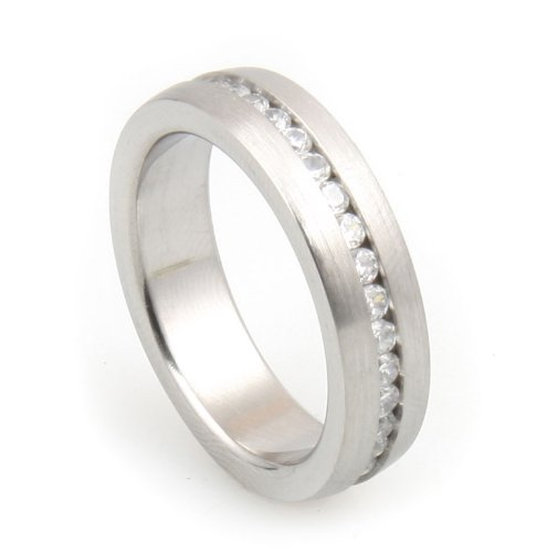 316L Stainless Steel Matte Eternity Ring with Clear CZ Stones - Size 6