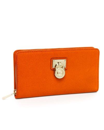 Michael Kors Hamilton Large Zip Around Wallet Burnt Orange Clutch