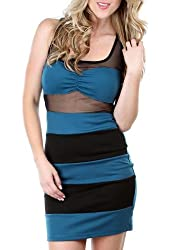 G2 Chic Women's Sexy Striped Bodycon Dress with Mesh Panels