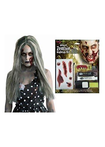 [Zombie Women Makeup and Wig Set] (Liquid Latex Zombie Costume)