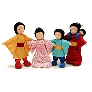 Amazon.com: Asian Doll Family Set of 5 Pieces for Dollhouse: Natural