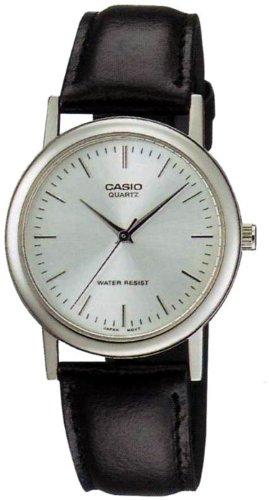 Casio Men'S Mtp1095E-7A Black Leather Quartz Watch With Silver Dial