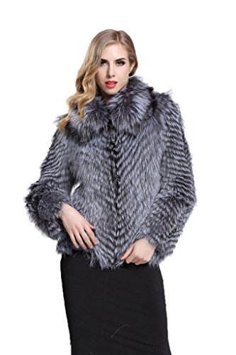 [Topfur Women's Silver Fox Fur Coat with Lapel Outerwear Winter Overcoat(US 10)] (Faux Chain Hooded Costumes)