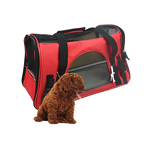 Jh Pet Carrier Bag Soft Airline Approved for Dogs/cats (Large, Crimson Red)