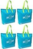 "Insulated Tote Bag, 15""x12""+3"" Flat Bottom, Aqua, 4 Pack Set"