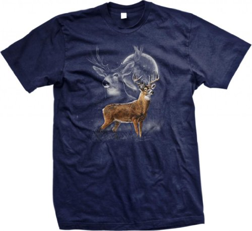 Whitetail Deer, White-Tailed Buck Men's T-shirt (Navy, 3X-Large)