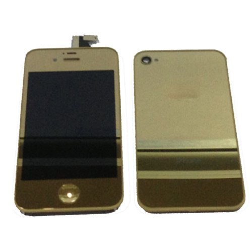 Mirror Colourful Front Lcd Display Screen Digitizer Assembly + Battery Back Cover Housing Replacement Parts For Iphone 4S (Gold)