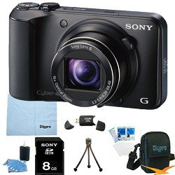 Sony Cyber-shot DSC-H90 16.1 MP Digital Camera with 16x Optical Zoom and 3.0-inch LCD (Black) BUNDLE with Sony 8GB Card, Card Reader, Case, Mini Tripod, LCD Screen Protectors, Lens Cleaning Kit, Microfiber Cleaning Cloth