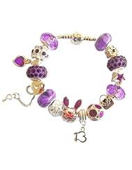 Treasured Charms & Beads 13Th Birthday Charm Bracelet Purple & Silver 18CM