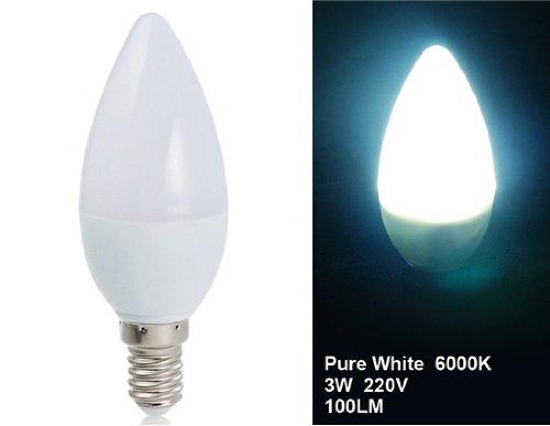 Wrui 3W E14 10 X 3528 Led White Led Candle Bulb Save Lamps (White)